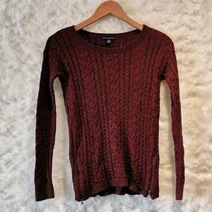 AEO Burgundy Knit Sweater with Zipper Accent